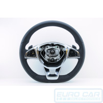 AMG Mercedes Benz W213 Flat Bottom Steering Wheel OEM Genuine Super Sport 2017 Black Leather A0004606600 9E38 - Euro Car Upgrades - jku.com.au