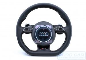 Audi RS3 Flat Bottom Multifunction Steering Wheel Airbag New Leather OEM Genuine - Euro Car Upgrades - jku.com.au