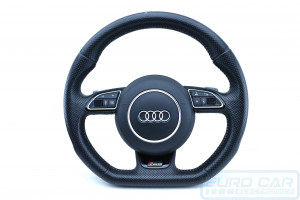 Audi RS6 Flat Bottom Steering Wheel with Airbag OEM Perforated Thick - Euro Car Upgrades - jku.com.au